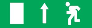 Знак эвакуации Е12 Направление к эвакуационному выходу прямо